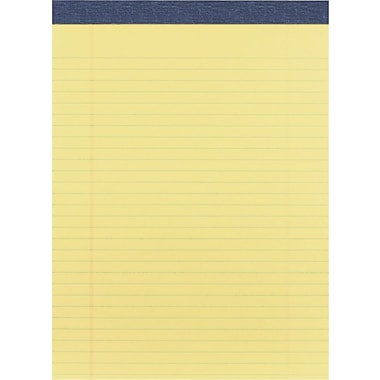 Staples® Signa™ Perforated Writing Pads, Wide Rule, Canary