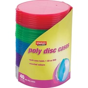 Staples® CD/DVD Roundcase storage, 40/Pack
