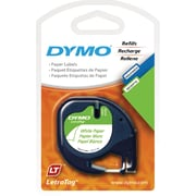 "DYMO® LetraTag Label Tape, 12mm (1/2"") Black on White Paper"