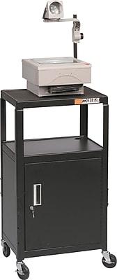 Balt Adjustable Utility Cart with Locking Storage Cabinet and Power Strip, Black, 26 42