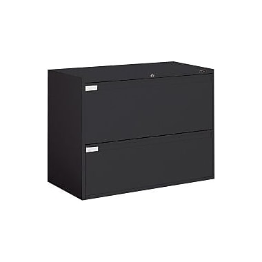 Global Business Plus 2 Drawer Lateral File, Black,Letter/Legal, 42''W (TD9342P2F1HBLK)