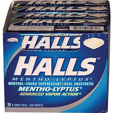 Halls® Mentho-Lyptus Cough Drops, Mentho-Lyptus, 20 Packs/Box