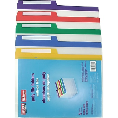Staples® Poly 1/2-Cut File Folders, Letter Size, 8-1/2