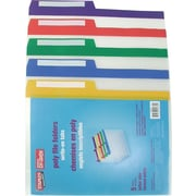 "Staples® Poly 1/2-Cut File Folders, Letter Size, 8-1/2"" x 11"", Assorted Colours"