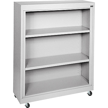 Sandusky 3-Shelf Mobile Bookcase, Gray