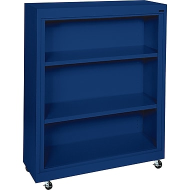 Sandusky 3-Shelf Mobile Bookcase, Blue