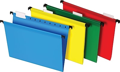 Staples® Poly Hanging File Folders, 5 Tab, Letter Size, Assorted Colors, 20/Pack (13324)