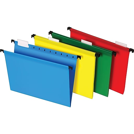 Staples Poly Hanging File Folders, 5-Tab, Letter Size, Assorted Colors,  20/Box (13324)