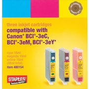 Staples® Compatible Colour Ink Cartridges, Canon BCI-3e, Combo Pack (SIC-40C)