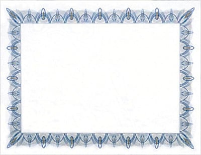 Geographics Blank Award Certificates  X  Blue Border