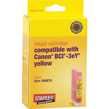 Staples® – Cartouche d'encre compatible avec Canon BCI-3eY, jaune (SIC-40Y)