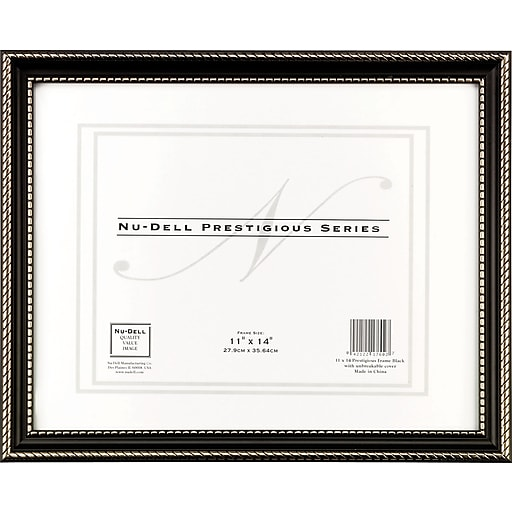NuDell™ Prestigious Traditional Document Frame, Black with Gold Trim ...