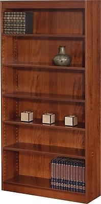 SAFCO Workspace Square Edge Veneer 6-Shelf Bookcase, Medium Oak