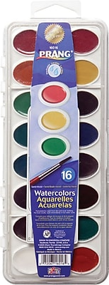 Prang® (Dixon Ticonderoga®) Washable Semi-Moist Watercolor Set with Brush, Oval Pan, 16-Color Set