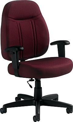 Global Fabric Computer and Desk Office Chair, Adjustable Arms, Burgundy (9330BK-JN07)