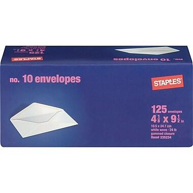 Staples Gummed White Wove #10 Standard Business Envelopes, 4 1/8
