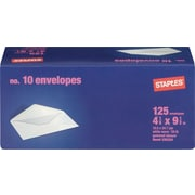 "Staples Gummed White Wove #10 Standard Business Envelopes, 4 1/8"" x 9 1/2"", White, 125/Box (235234/19258)"