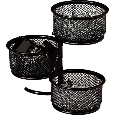 Staples® Metal Mesh 3-Tier Swivel Tower, Black