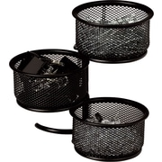 Staples Metal Mesh 3-Tier Swivel Tower, Black