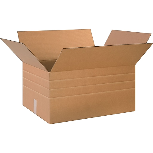 """24"""" x 18"""" x 12"""" Multi-Depth Shipping Boxes, 32 ECT, Brown, 20/Bundle (BS241812MD)"""