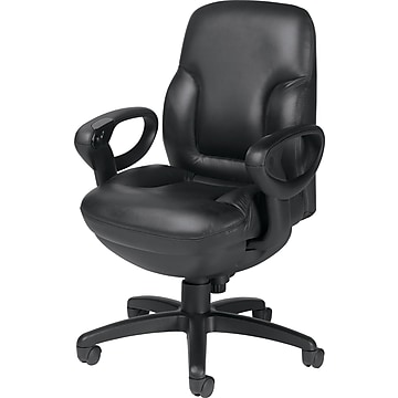 Global Concorde Leather Executive Office Chair with Adjustable Arms, Black (2425-18BK-PD03)