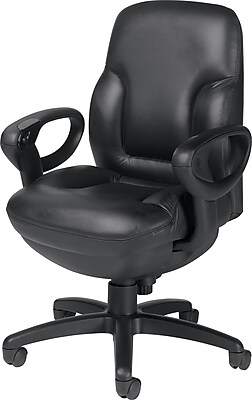 Global Concorde Leather Executive Office Chair, Adjustable Arms, Black (2425-18BK-D534)