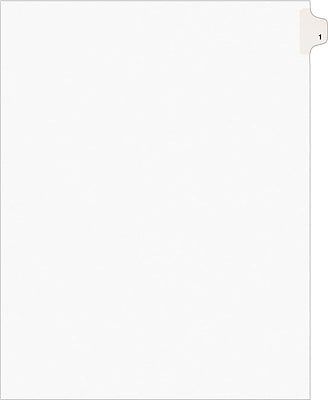 Avery® Numerical Individual Divider Tab 8 Set Paper Stock, White, 8 1/2