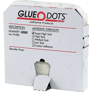 Glue Dots ® Dispenser Box, High Profile, High Tack, Clear, 2500/Roll