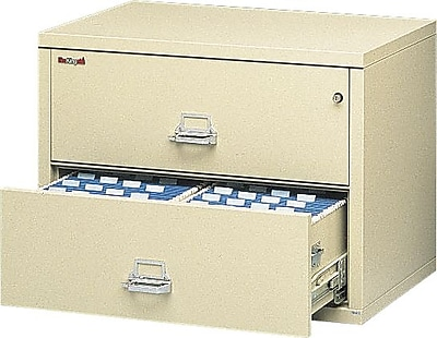FireKing 1 Hour Lateral File Cabinet, Letter/Legal, 2-Drawer, Parchment, Includes White Glove Delivery (FIR23122CPAI)
