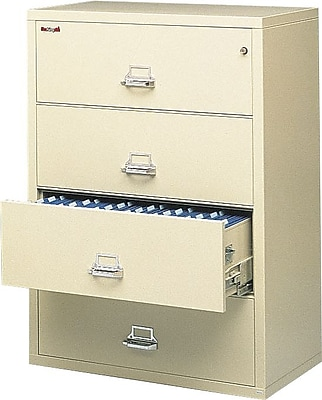 FireKing® Fire Resistant Lateral File Cabinet, Letter/Legal, 4-Drawer, Putty, 22 1/8