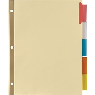 Staples Insertable Big Tab Dividers with Buff Paper, Multicolor, 5/Set (13485)