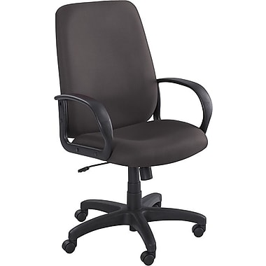 Safco Poise Fabric Executive Office Chair, Adjustable Arms, Black (6300BL)