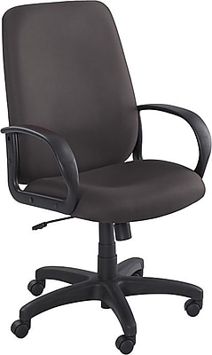 Safco® Poise™ Collection Executive High-Back Swivel Chair, Fabric, Black, Seat: 21