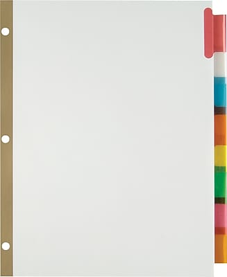 Staples® Insertable Big Tab Dividers with White Paper, Multicolor, 8-Tab