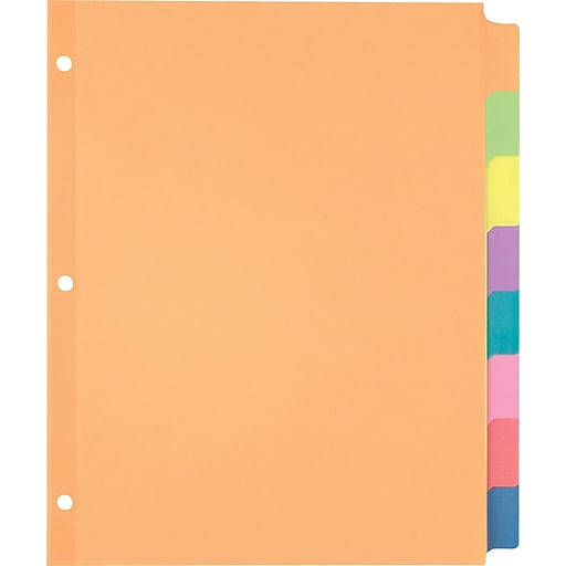staples large tab writable dividers 8 tab set multicolor staples