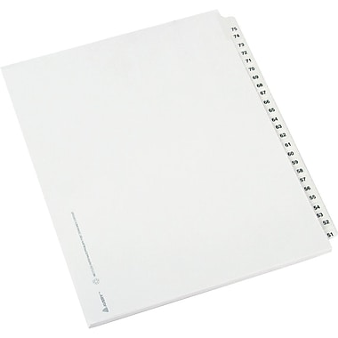 Avery Side Tab Index Divider, Exhibit 51-75, White