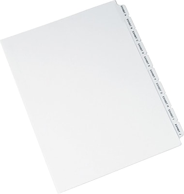 Avery Standard Collated Legal Dividers Avery Style 1370, Letter Size, Exhibit A Exhibit Z Tab Set