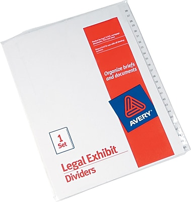 Avery Allstate® Preprinted Legal Side Tab Dividers, Tab Titles 26-50, White, 8 1/2