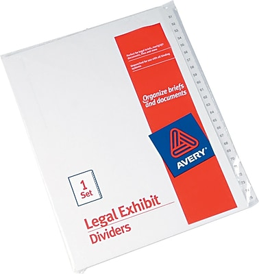 Avery Allstate® Preprinted Legal Side Tab Dividers, Tab Titles 51-75, White, 8-1/2
