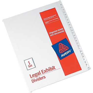 Avery Allstate® Preprinted Legal Side Tab Dividers, Tab Titles 76-100, White, 8 1/2