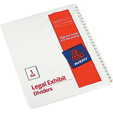 Avery Allstate® Preprinted Legal Side Tab Dividers, Tab Titles 126-150, White, 8 1/2