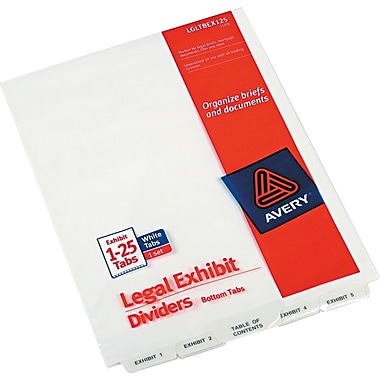 Avery-Style Legal Bottom Tab Divider, Title: Exhibit 1-25, Letter, White