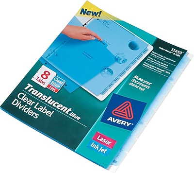 Avery® Index Maker® Translucent Clear Label Tab Dividers, 8-Tab, Blue, 1 Set/Pack