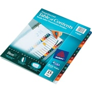 "Avery® Ready Index® Plastic Table of Contents Dividers, 1-15 Tab, Multicolor, 8 1/2"" x 11"", 1/St"