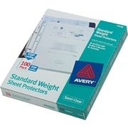 "Avery Standard Top-Load Sheet Protectors, Poly, Semi-Clear, 11"" x 8-1/2"", 100/Bx"