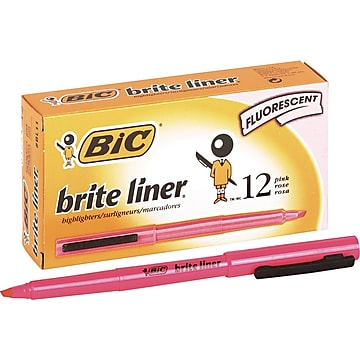 BIC Brite Liner Stick Highlighter, Chisel Tip, Pink, Dozen (65554/BL11PL)