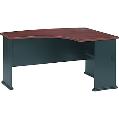Bush Cubix Right L-Bow Desk, Hansen Cherry and Galaxy