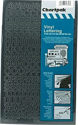 Chartpak Press-On Vinyl Uppercase Letters, 1/2