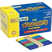 """Chenille Kraft Company Colored Wood Sticks, (Popsicle) Size, Assorted, 4.5"""" x.38"""", 1,000/Bx"""