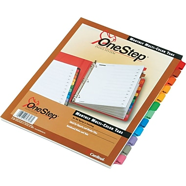 Cardinal® OneStep® Printable Table of Contents and Dividers, Jan-Dec - 12-Tab, Multicolor, 1/St